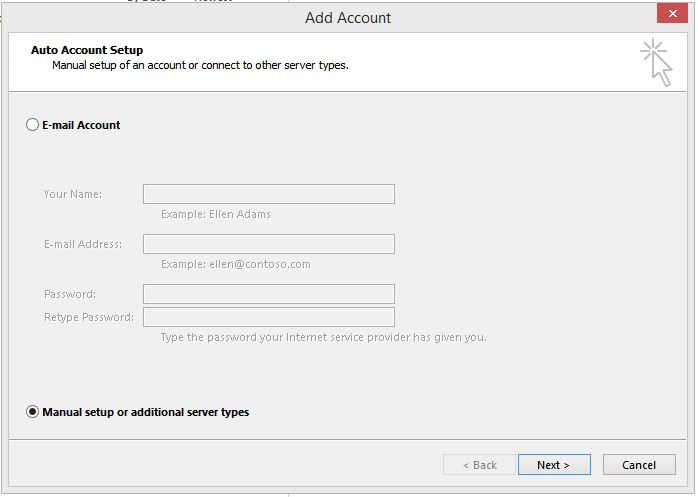 Outlook add account menu