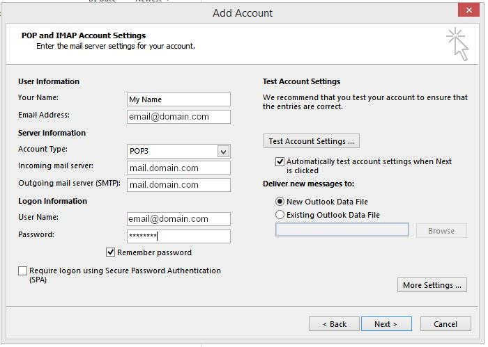 Add account screen login settings