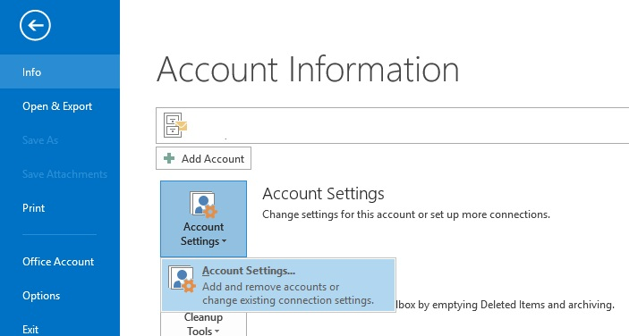 Account information menu