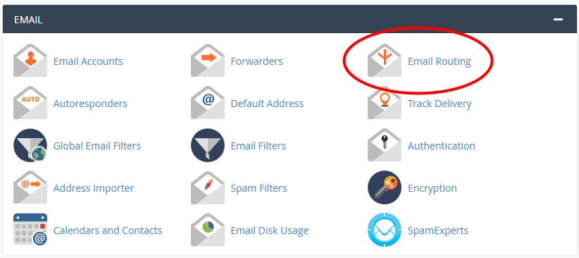 Click the 'Email Routing' icon