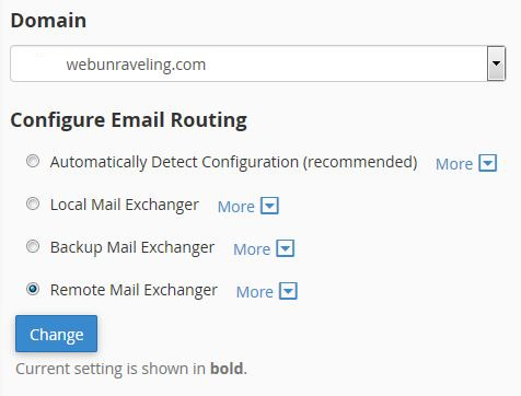 Set email routing to 'Remote Mail Exchanger' for your preferred domain