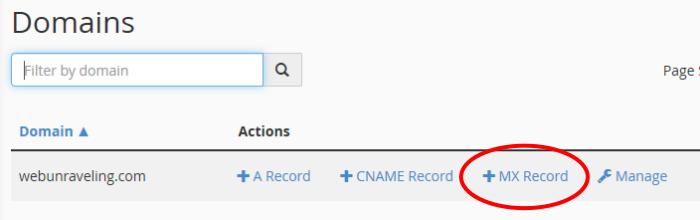 Click '+ MX Record'