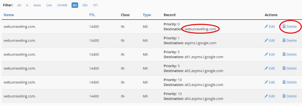 Delete any non-Google MX records